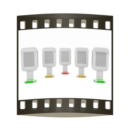 Vertical glossy billboards. 3d illustration on white background. The film strip