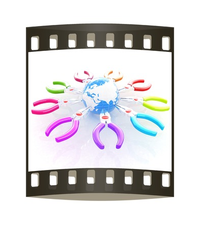 Colorful pliers to work and earth. Global tools concept. The film strip photo