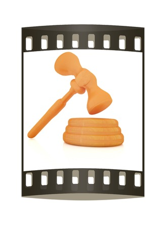 jurisdiction: Wooden gavel isolated on white background. The film strip