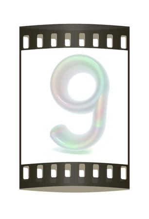 """numero nueve: Brillante 3d n�mero """"nueve"""". La tira de pel�cula"""