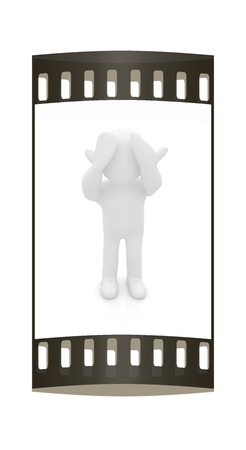 personage: 3d personage with hands on face on white background. Series: human emotions. The film strip