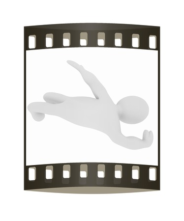 3d man: 3d man isolated on white. Series: swimming. The film strip Stock Photo