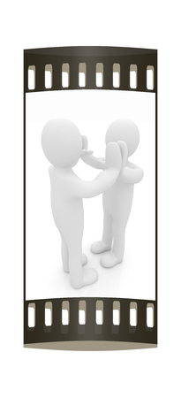 front raise: 3d man isolated on black. Series: human emotions - five between two persons that celebrate a success. The film strip Stock Photo