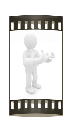 3d man: 3d man holds a baby on hands. The film strip Stock Photo