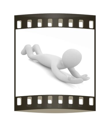 in insert: 3D human lying. Empty hands specifically for your imagination: insert any advertisement. The film strip Stock Photo