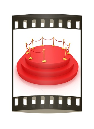 carpeting: 3D carpeting podium with gold handrail. The film strip Stock Photo