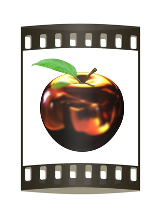 goldish: Gold apple isolated on white background. Series: Golden apple under different environments. The film strip