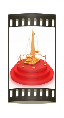 carpeting: Gold scales of justice on 3d carpeting podium with gold handrail. The film strip