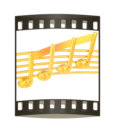 quaver: 3D music note on staves on a white. The film strip
