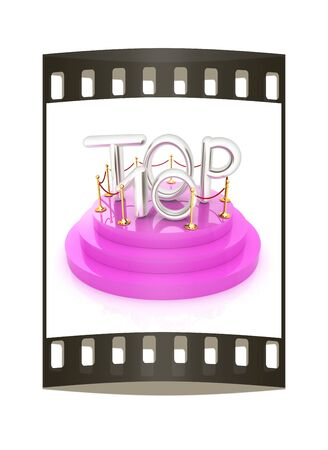 top ten: Top ten icon on white background. 3d rendered image. The film strip