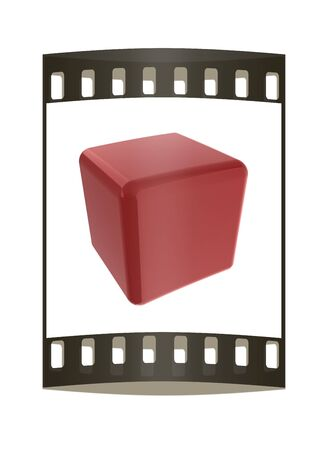 technology symbols metaphors: Icon, glossy red cube, abstract symbol. The film strip