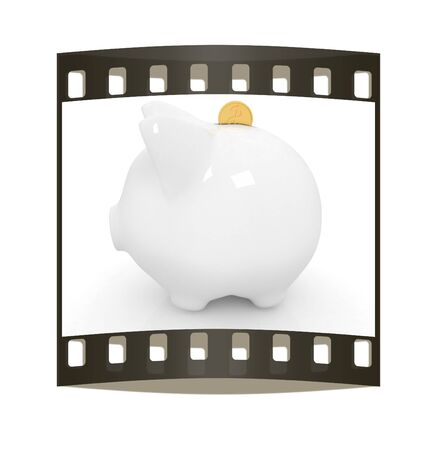 path to wealth: glass piggy bank and falling coins on white background. The film strip Stock Photo
