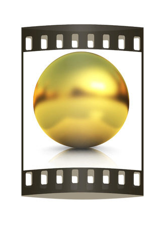 gold  ball: Gold Ball on a white background. The film strip