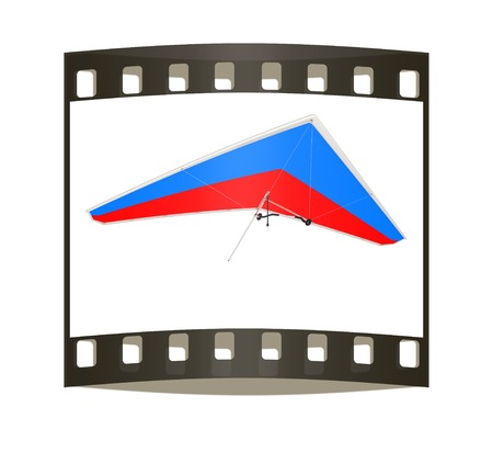 hang glider: Hang glider isolated on a white background. The film strip Stock Photo