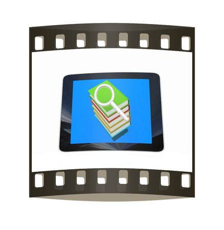 gprs: Phone colorful real books and find the icon on the screen on white background. The film strip