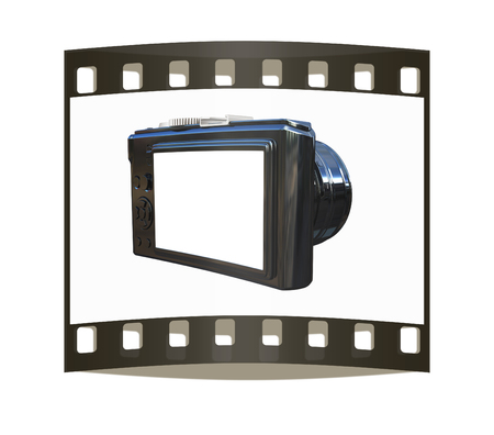 3d illustration of photographic camera on white background. The film strip