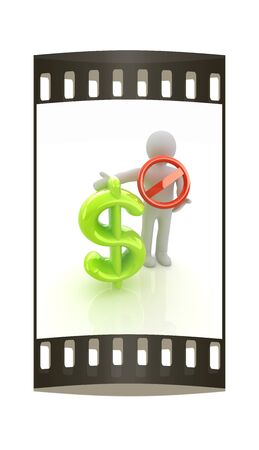 3d man with prohibition sign and dollar. The film strip photo