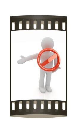 interdiction: 3d homme avec un signe d'interdiction. La bande de film Banque d'images