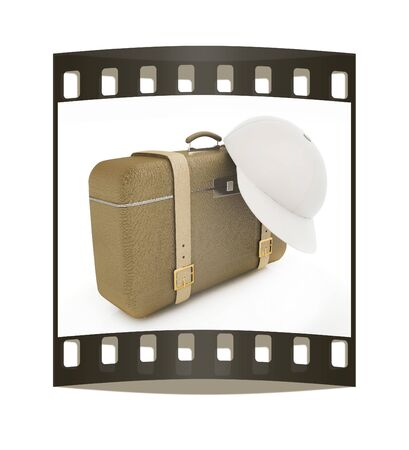 clear skin: Brown travelers suitcase and peaked cap on a white background. The film strip