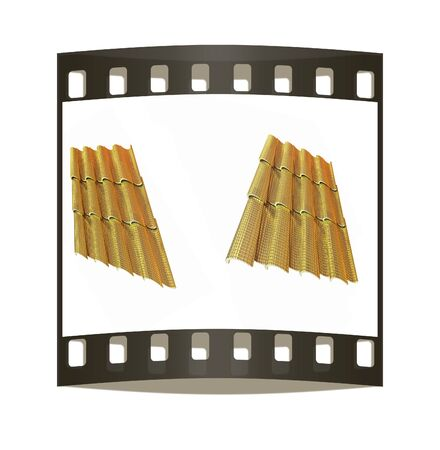 coate: Gold 3d roof tiles isolated on white background. The film strip