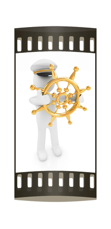 mariner: Sailor with gold steering wheel and earth. Trip around the world concept on a white background. The film strip