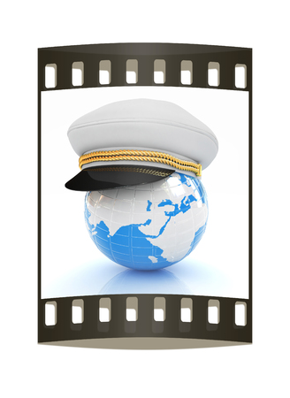 realist: Marine cap on Earth on a white background. The film strip Stock Photo