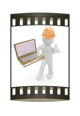 elevation meter: 3D small people - an engineer with the laptop on a white background. The film strip