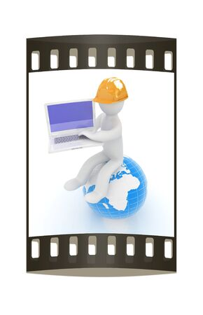 3d man in a hard hat sitting on earth and working at his laptop on a white background. The film strip photo