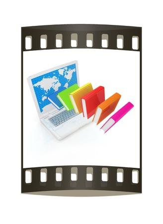 libros volando: Libros coloridos volando y port�til sobre un fondo blanco. La tira de pel�cula