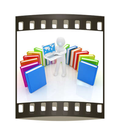 living wisdom: 3d man sitting on books and working at his laptop on a white background. The film strip