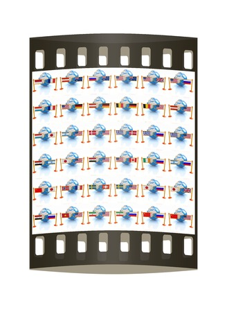 middle east conflict: Set of three-dimensional image of the flags of world on a white background. The film strip