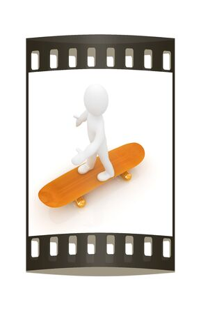 white person: 3d white person with a skate and a cap. 3d image on a white background. The film strip Stock Photo