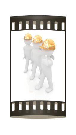 3d mans in a hard hat with thumb up. On a white background. The film strip