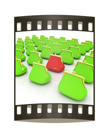 Leather purse on a white background. Investments concept. The film strip photo