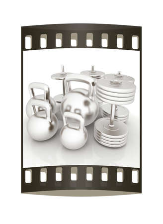 metall: Metall weights and dumbbells on a white background. The film strip Stock Photo