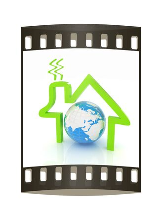 habitable: 3d green icon house, earth on white background. The film strip