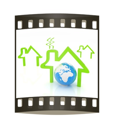circuit sale: earth and icon house on white background. The film strip