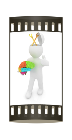 blue collar: 3d people - man with half head, brain and trumb up. Service concept with wrench. The film strip