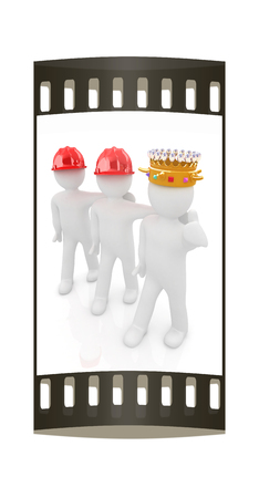 luxuriance: 3d people - man, person with a golden crown. King with person with a hard hat. The film strip