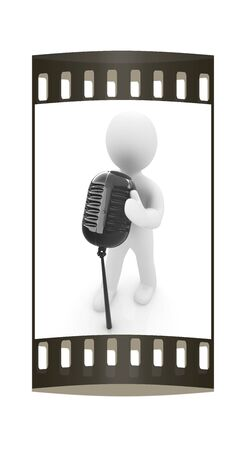 3D man with a microphone on a white background. The film strip photo
