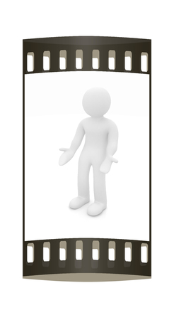 3d man isolated on white. Series: human emotions - indignation and perplexed. The film strip