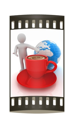 3d people - man, person presenting - Mug of coffee with milk. Global concept with Earth. The film strip photo