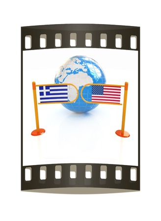 Three-dimensional image of the turnstile and flags of USA and Greece on a white background. The film strip photo