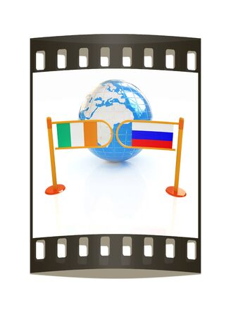 Three-dimensional image of the turnstile and flags of Ireland and Russia on a white background. The film strip