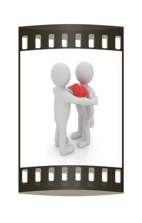profile measurement: 3d mans holding his hand to his heart and 3d people hug . Concept: From the heart. The film strip
