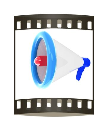 announcement icon: Loudspeaker as announcement icon. Illustration on white. The film strip Stock Photo