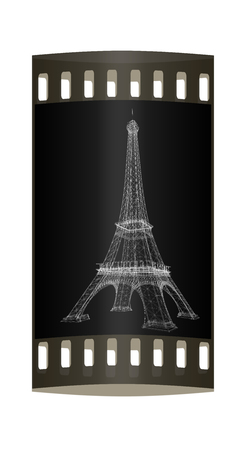 high beams: 3d Eiffel Tower render. The film strip Stock Photo