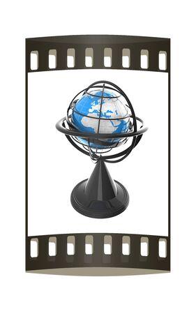 earthly: Terrestrial globe model. The film strip Stock Photo