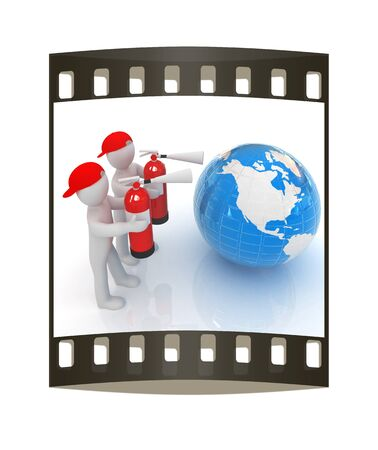 extinguish: 3d mans with red fire extinguisher extinguish earth on a white background. The film strip Stock Photo