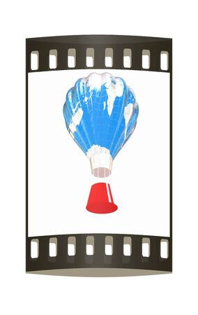blimp: Hot Air Balloons as the earth with Gondola. Colorful Illustration isolated on white Background. The film strip Stock Photo